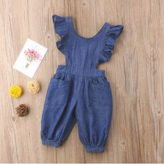 Celmia Cute Girl's Back Cross Denim Romper For Years is cheap, come to NewChic and buy the best toddler dresses now! Dresses Kids Girl, Little Girl Outfits, Little Girl Fashion, Toddler Fashion, Kids Fashion, Latest Fashion, Fall Fashion, Toddler Dress, Toddler Outfits