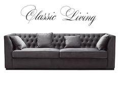 VERONA SOFA Lekker og eksklusiv sofa i et eksklusivt design med nydelige detaljer. Sofaen er i grå velour. #classicliving #interiør #sofa