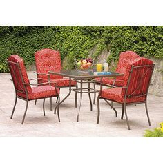 Mainstays Warner Heights 5-Piece Patio Dining Set, Red, Seats 4: Patio Furniture : Walmart.com