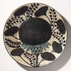 Earthenware Wall Dish, c. 1960 Arabia Birger Kaipiainen Finnish During his half-century long career at the Arabia factory, Kaip. Pottery Plates, Ceramic Plates, Ceramic Pottery, Ceramic Art, Pretty Things, Sgraffito, Contemporary Ceramics, Plates And Bowls, Earthenware