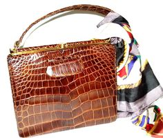 BIRKS Vintage 60s Genuine Crocodile Alligator Leather Top Handle Retro Bag Purse