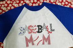 Baseball Mom Shirt Applique Raglan Sleeve - Champion Raglan You Choose Fabric Baseball Sports Fan Shirt by BayBaysBoutique on Etsy https://www.etsy.com/listing/290657465/baseball-mom-shirt-applique-raglan
