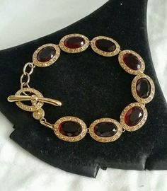 MONET-RUBY-RED-GRIPOIX-GLASS-RHINESTONE-DECO-LINK-TOGGLE-CHAIN-BRACELET