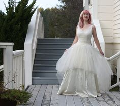 Probably the only 'wedding cake' dress that is genuinely pretty. Vintage Dresses For Sale, Bridal Gowns, Wedding Gowns, 50s Wedding, Wedding Dress Cake, One Shoulder Wedding Dress, Trending Outfits, Princess Bridal, Fairytale