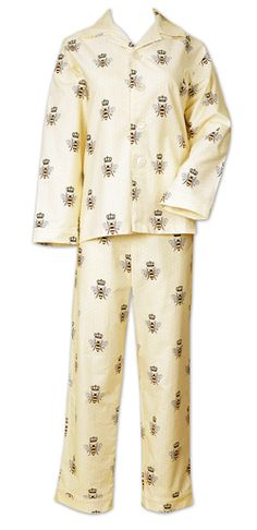 "The Cat's Pajamas Women's ""Queen Bee"" Cotton Pajama Set in Cream $94 - SHOP http://www.thepajamacompany.com/store/18917.html?category_id=11008"