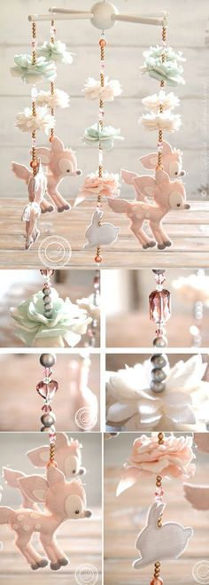 I'm proud to show you the Lolly Cloth Fawn Mobile, handcrafted with the finest certified fabrics in shades of light pink, mint green, white and grey. The flowers are handmade petal by petal. The top hanger is painted in white. Available in two versions (with or without Swarovski®️ Crystals), this precious mobile will add charm to your baby girl nursery decor. It help to develop the visual capabilities of the infant. Give special little friends to a special Little One! #ad #etsy