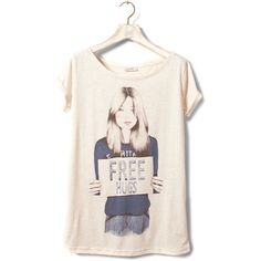Pull & Bear Print Top (17 BRL) ❤ liked on Polyvore featuring tops, t-shirts, shirts, blusas, beige marl, pink t shirt, pull&bear shirts, bear shirt, marled shirt and beige top
