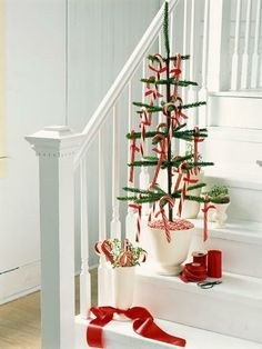 Stare Case. A fun twist on a Christmas tree using candy canes.