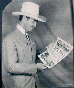 1936 Movie Star Clark Gable Texas Ranger Badge of Office Gallon Hat Orig Photo