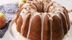 Spiced apple cake envelopes a rich cheesecake filling, topped with a sweet glaze. Apple Cake Recipes, Pound Cake Recipes, Baking Recipes, Dessert Recipes, Apple Cakes, Holiday Desserts, Sweet Desserts, Delicious Desserts, Cupcakes