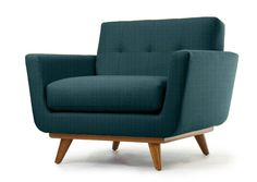 The Nixon Chair in Shade Butter fabric and Walnut wood stain by Thrive Furniture - Mid Century Modern furniture and design