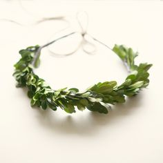 natural boxwood crown - head piece.,  could add tiny white flowers, but the boxwood is lovely & simple