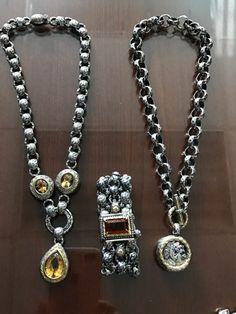 Citrine, Sterling Silver, 18k Gold, necklace and bracelet. Engraved links.