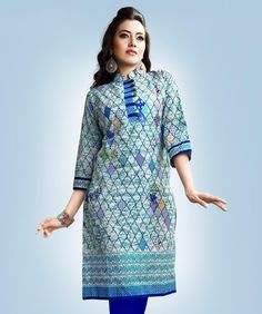 fashionandyou.com brings to you a smart and trendy collection of authentic ethnic wear. Check out the widest range of kurtis and kaftans available in hues and patterns like never before.BRAND: MayahCATEGORY: KurtiCOLOUR: Green, Blue and WhiteMATERIAL: CottonSIZE: This product conforms to standard brand sizing. For your shopping convenience, please refer to the following size chart. All measurements are in inches.     Size L XL 2XL   Bust  40 42 44    CARE INFO: Dry Clean OnlyPRODUCT CODE…