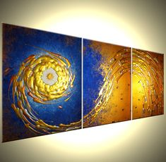 Black Friday, Small Business Saturday, and Cyber Monday Sale! Original Painting, Contemporary Abstract Art, Blue Gold Silver Painting, Bronze Copper Night Star, Starry Night, Textured Original Modern Painting, Fine Art On Sale By Dan Lafferty - STAR IN NIGHT - 48x20 FREE PAINTING