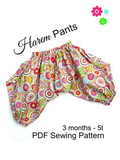 This easy to sew harem pants pattern is a great beginners pattern. The pants are comfy to wear for cloth diapered babies and toddlers.Harem Pants Pattern For Kids - Whimsy Couture Sewing Patterns Products Trendy Baby Girl Clothes, Sewing Clothes Women, Sewing Pants, Toddler Sewing Patterns, Baby Clothes Patterns, Baby Sewing, Pants Pattern Free, Harem Pants Pattern, Girls Harem Pants