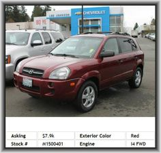 2005 Hyundai Tucson GL SUV   Rear Stabilizer Bar: Regular, Tires: Speed Rating: T, Instrumentation: Low Fuel Level, Remote Power Door Locks, Cupholders: Front And Rear, Overhead Console: Mini With Storage, Door Reinforcement: Side-Impact Door Beam, Silver Aluminum Rims, Rear Leg Room: 37.2, Integrated Roof Antenna, Seatback Storage: 2, Max Cargo Capacity: 66 Cu.Ft., Tachometer, Cruise Controls On Steering Wheel, Cargo Tie Downs