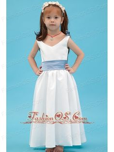 White A-line V-neck Flower Girl Dress Ankle-length Taffeta Belt- $89.45  http://www.fashionos.com  http://www.facebook.com/quinceaneradress.fashionos.us  The skirt is light and straight in pleats and folds, which means it will be comfortable on. A contrasting waist sash at the midsection of the dress adds a lovely feeling. Simple, yet beautiful!