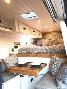 Van Conversion Interior, Camper Van Conversion Diy, Ford Transit Camper Conversion, Build A Camper Van, Diy Camper, Diy Caravan, Camping Glamour, Kombi Trailer, Campervan Interior