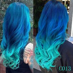 Mermaid ombre colorful indian remy clip in hair extensions C013 [C013] - VPfashion.com