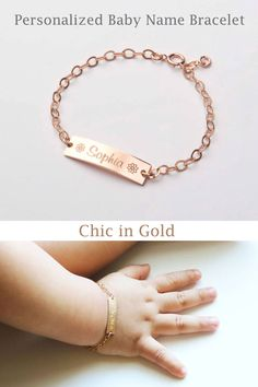 Personalized Baby Name bracelet-Adjustable Baby Toddler Child ID Bracelet-Personalized Girl Boy Solid Gold-Gold Cute Baby Girl, Cute Babies, Baby Kids, Baby Boy, Toddler Behavior, Baby Bling, Baby Bracelet, Baby Jewelry, Id Bracelets