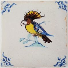 Antique Dutch Delft tile with a beautiful Cockatoo, 17th century | Regts - Antique Tiles