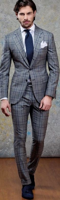 Blue and grey suit! Amazing and sleek