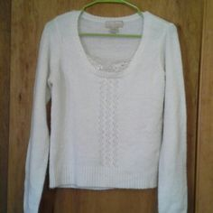 Sweater with sequins White long sleeve sweater size large Personal Identity Sweaters Crew & Scoop Necks