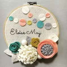Custom Embroidery Hoop Art  Wall Art  Nursery Room by nolaandvi