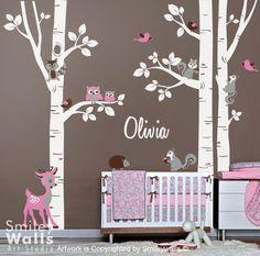 Wandtattoos - Waldtiere und Rotwild-Birken-Bäume Wandtattoo - ein Designerstück von Smileywalls bei DaWanda