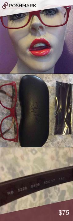 Red Ray Ban Prescription Glasses with case Excellent condition Ray-Ban Accessories Glasses
