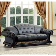 Elegantly designed and rich in style this Black Italian leather sofa by Luca Home will instantly upgrade your living room.