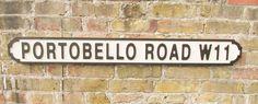 Vintage Wood LONDON street road sign,  PORTOBELLO ROAD W11
