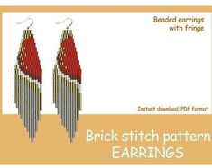 Beaded earrings with fringe. Bead Embroidery Patterns, Beading Patterns Free, Beading Tutorials, Stitch Patterns, Bead Patterns, Jewelry Patterns, Peyote Patterns, Weaving Patterns, Jewelry Ideas
