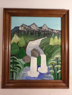 """Mountains Trees Stream """" Twin Water Falls """"  16 x 20 Canvas Board With Older Wooden Frame Ready to Hang by F Sevy by StillwatersPaintings on Etsy"""