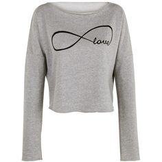 Eternal Love Print Crop Top Shirt Womens Ladies Crop Sweat ($16) ❤ liked on Polyvore featuring tops, hoodies, sweatshirts, black, crop tops, women's clothing, print crop top, white sweatshirt, shirts & tops and crop shirts
