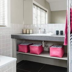 Off-white bathroom with pink and black accents | Bathroom Decorating | Style at Home | housetohome.co.uk