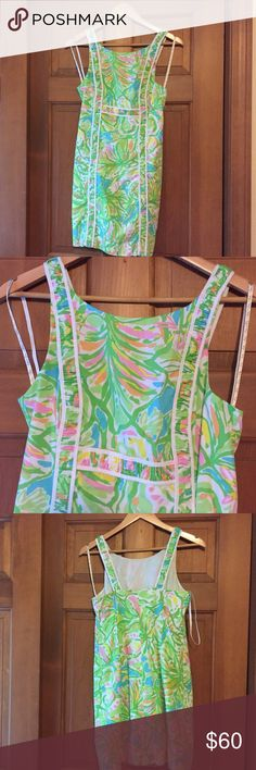 Lilly Pulitzer Strappy Shift Dress - Size 2 A great dress for the summer or wedding guest! Dress has hidden zipper along the back as well. Lilly Pulitzer Dresses