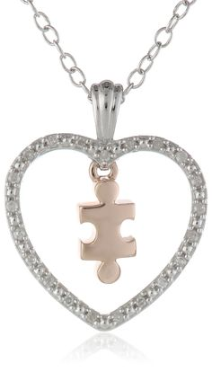 """Silver Heart and 10k Rose Gold Puzzle Piece Diamond Accent Pendant Necklace, 18"""""""