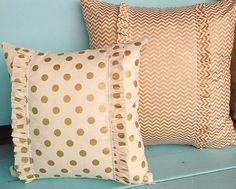 Set of two Cream and Gold pillows Chevron and polkadot pillow covers on Etsy, $35.00