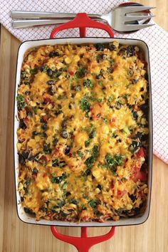 Rice and Black Bean Casserole. #recipes #healthyrecipes #healthyliving