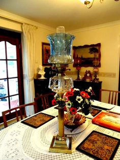VICTORIAN FULLY WORKING SEA BLUE/ CLEAR GLASS SHADE CORINTHIAN COLUMN OIL LAMP. #Victorian #Oillamps