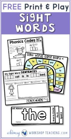 Sight Words Strategies and Resources Free pack of print and play sight word printables!Free pack of print and play sight word printables! Basic Sight Words, Teaching Sight Words, Sight Word Practice, Sight Word Games, Sight Word Activities, Phonics Activities, Sight Word Spelling, Reading Activities, Literacy Activities