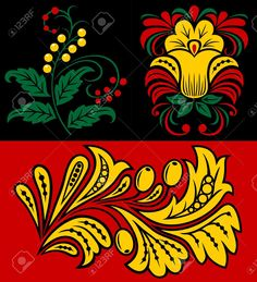 Vegetative Pattern In Traditional Russian Style. Royalty Free Cliparts, Vectors, And Stock Illustration. Bat Images, Crown Silhouette, Russian Fashion, Russian Style, Medicine Wheel, Shower Banners, Traditional Design, Textile Design, Folk Art