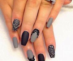 #nails #prom #pretty #edressme #grey #black #prom2k15 #beautiful #nailart