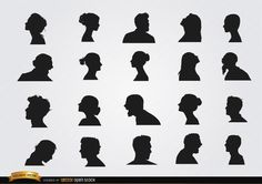 Set of profile silhouettes, it has 20 different profiles with various expressions, hairstyles, positions, male and female. They are perfect for any classic style ad. High quality JPG included. Under Commons 4.0. Attribution License.