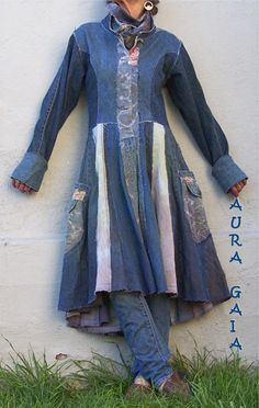 AuraGaia ~ Bluebird ~ Poorgirl's Denim Corset Back Patchwork Traveling Coat & Matching Infinity Scarf. upcycled overdyed tattered raw ooak: