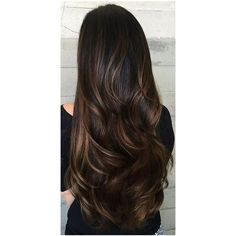 Brunette Hair Highlights ❤ liked on Polyvore featuring beauty products, haircare, hair, hair and wig and hairstyles