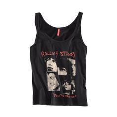 Black Tank With The Rolling Stone Print ($11) ❤ liked on Polyvore
