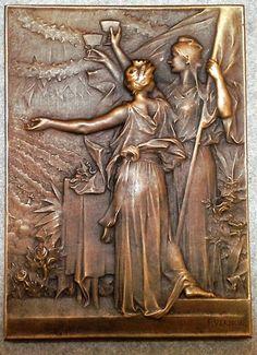 1900 French Art Nouveau Bronze Medal Mayors Luncheon, Frédéric Vernon